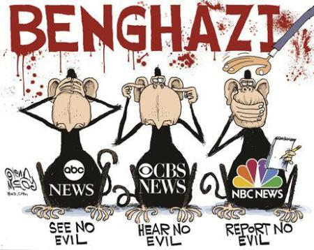 Cartoon - Media Benghazi Coverup