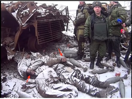 dead & bound Ukraine soldiers at Donetsk airport